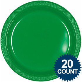 "Green 10"" Plastic Dinner Plates (20 Pack)"