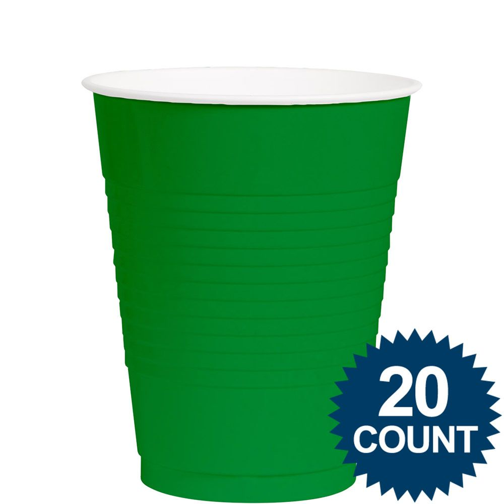Green 12 Oz. Plastic Cups (20 Pack) - Party Supplies BB4303603