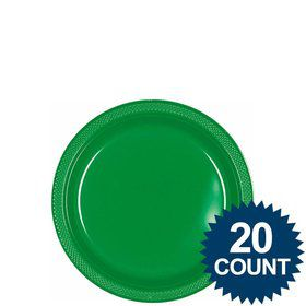 "Green 7"" Plastic Cake Plates (20 Pack)"