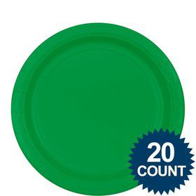 "Green 9"" Paper Plates, 20ct."
