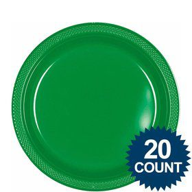 "Green 9"" Plastic Luncheon Plates (20 Pack)"