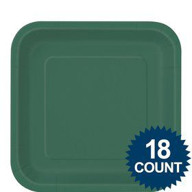 "Green 9"" Square Luncheon Plates (18 Pack)"
