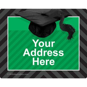 Green Caps Off Graduation Personalized Address Labels (Sheet of 15)