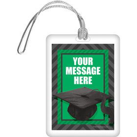 Green Caps Off Graduation Personalized Bag Tag (Each)