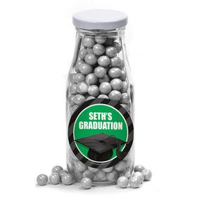 Green Caps Off Graduation Personalized Glass Milk Bottles (10 Count)