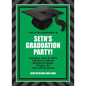 Green Caps Off Graduation Personalized Invitation (Each)