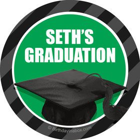 Green Caps Off Graduation Personalized Mini Stickers (Sheet of 20)