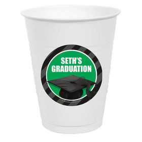 Green Caps off Graduation Personalized Party Cups