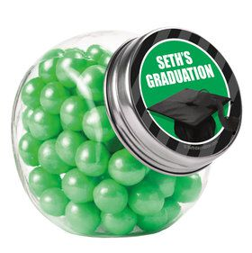 Green Caps Off Graduation Personalized Plain Glass Jars (12 Count)