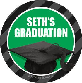 Green Caps Off Graduation Personalized Stickers (Sheet of 12)