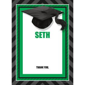 Green Caps Off Graduation Personalized Thank You (Each)