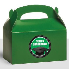 Green Caps Off Graduation Personalized Treat Favor Boxes (12 Count)