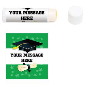 Green Grad Personalized Lip Balm (12 Pack)