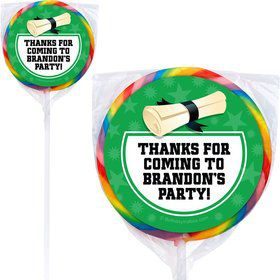 Green Grad Personalized Lollipops (12 Pack)