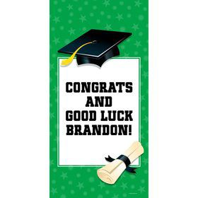 "Green Graduation Personalized Giant Banner 30X6"" (Each)"