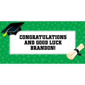 "Green Graduation Personalized Giant Banner 60X3"" (Each)"