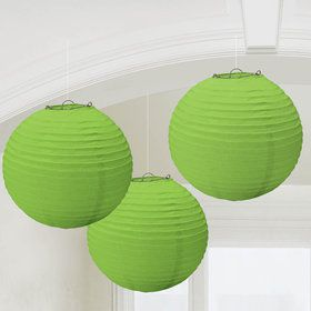 Green Paper Lantern Decorations (3 Count)