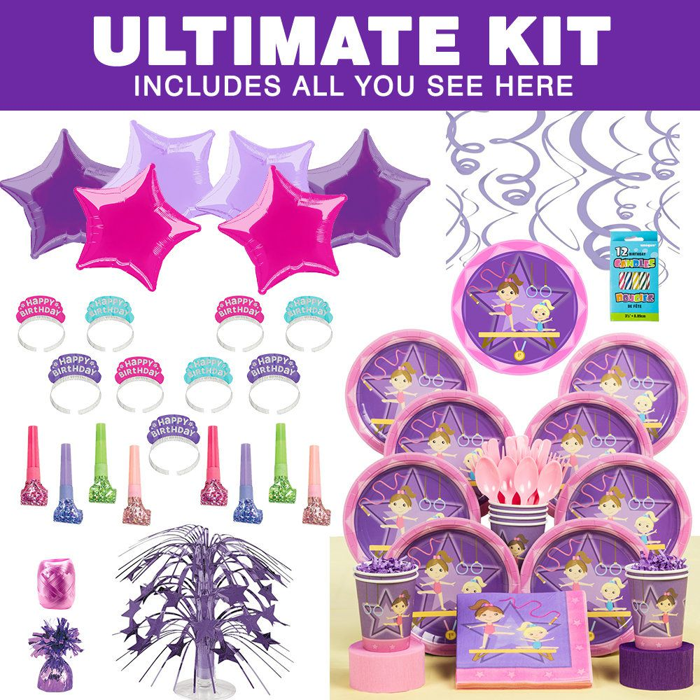 Gymnastics Birthday Party Decorations Gymnastics Ultimate Tableware Kit Gymnastics Party Supplies From
