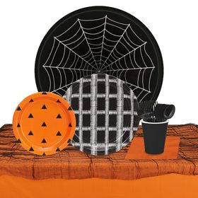 Halloween Black, Orange White 32 Guest Tableware Kit