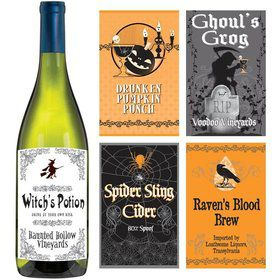 Halloween Printed Sticker Bottle Labels (5 Count)