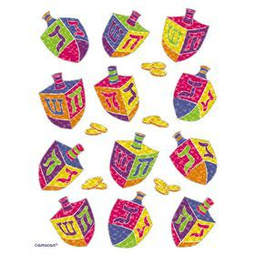 Hanukkah Dreidels Prismatic Stickers (3 Sheets)