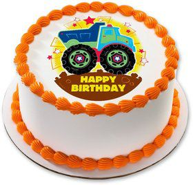 "Happy Birthday Truck 7.5"" Round Edible Cake Topper (Each)"