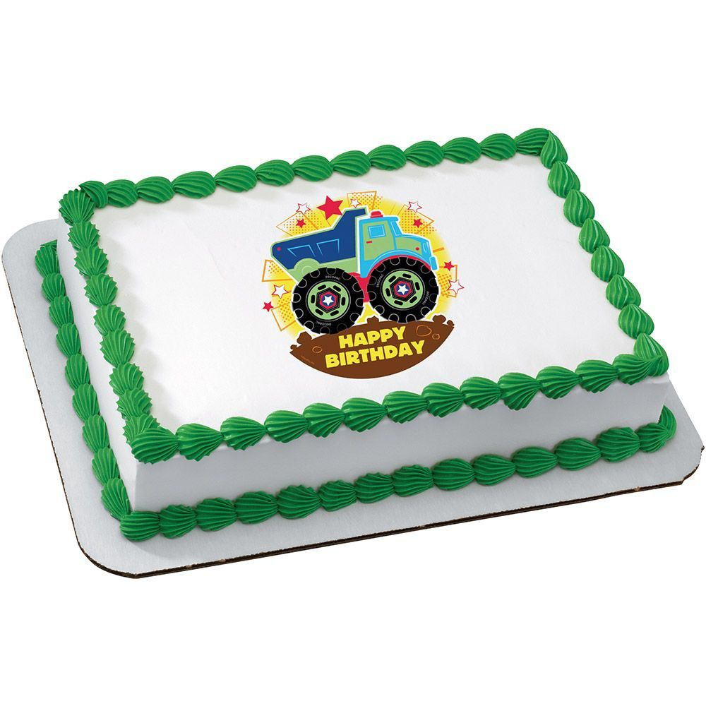 Happy Birthday Truck Quarter Sheet Edible Cake Topper Each