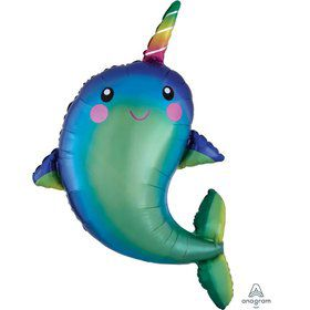 Happy Narwhal 39 Jumbo Shaped Foil Balloon