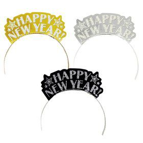 Happy New Year Glitter Assorted Tiaras (12 Pack)