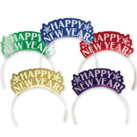 Happy New Year Glitter Multicolor Tiaras (12 Pack)