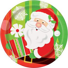 "Happy Santa 9"" luncheon Plate (8 Count)"
