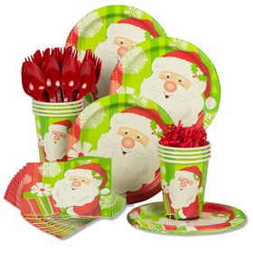 Happy Santa Standard Christmas Tableware Kit (Serves 8)