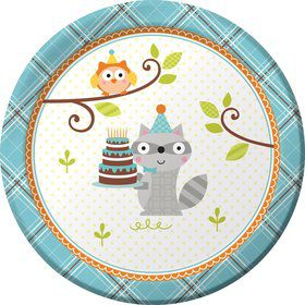 "Happy Woodland Boy 7"" Cake Plates (8 Pack)"