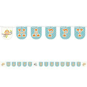 Happy Woodland Boy 7ft. Ribbon Banner (Each)