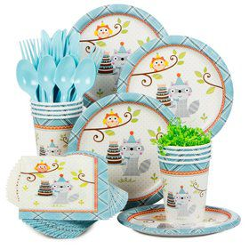 Happy Woodland Boy Birthday Party Standard Tableware Kit Serves 8