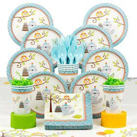 Happy Woodland Boy Party Deluxe Tableware Kit Serves 8