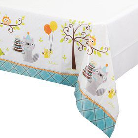 Happy Woodland Boy Plastic Table Cover (Each)