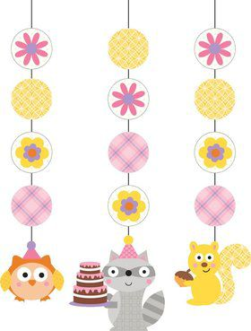 "Happy Woodland Girl 36"" Hanging Decorations (3 Pack)"