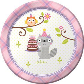 "Happy Woodland Girl 7"" Cake Plates (8 Pack)"