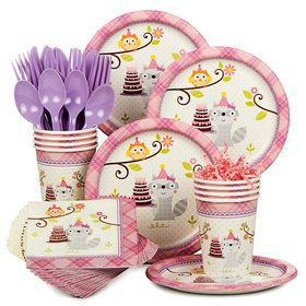 Happy Woodland Girl Birthday Party Standard Tableware Kit Serves 8