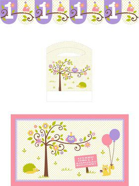 Happy Woodland Girl Highchair Decorating Kit (Each)