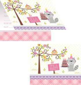 Happy Woodland Girl Invitations (8 Pack)
