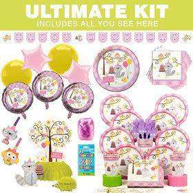 Happy Woodland Girl Party Ultimate Tableware Kit Serves 8