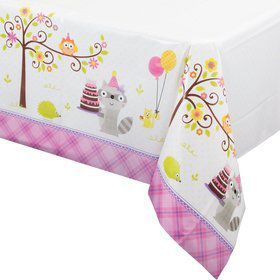 Happy Woodland Girl Plastic Table Cover (Each)
