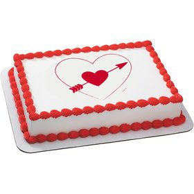 Heart and Arrow Quarter Sheet Edible Cake Topper (Each)