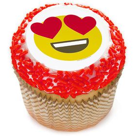 "Heart Eyes Emoji 2"" Edible Cupcake Topper (12 Images)"