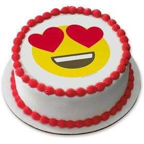 "Heart Eyes Emoji 7.5"" Round Edible Cake Topper (Each)"