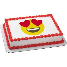 Heart Eyes Emoji Quarter Sheet Edible Cake Topper (Each)