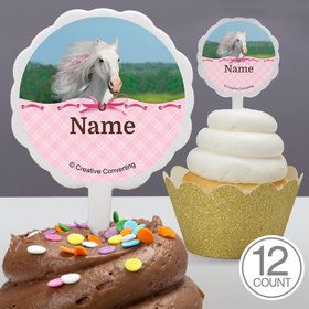 Heart My Horse Personalized Cupcake Picks (12 Count)