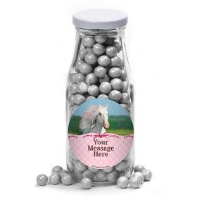 Heart My Horse Personalized Glass Milk Bottles (12 Count)
